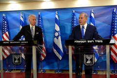 Then-Vice President Joe Biden joins Israeli Prime Minister Benjamin Netanyahu during joint statements in the prime minister's office in Jerusalem on March 9, 2016. (Photo by DEBBIE HILL/AFP via Getty Images)