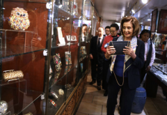 Nancy Pelosi at Canton Bazaar in San Francisco's Chinatown, Feb. 24, 2020. (Photo by Justin Sullivan/Getty Images)