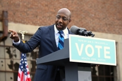 Democratic Senate candidate Raphael Warnock speaks at a campaign rally in Atlanta, Georgia on December 15. (Photo by Jim Watson/AFP via Getty Images)