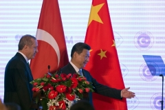 Chinese President Xi Jinping and Turkish President Recep Tayyip Erdogan in Beijing.  (Photo by Ng Han Guan/AFP via Getty Images)