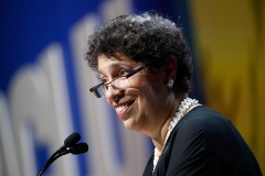 ACLU president Susan Herman gives a speech. (Photo credit: Paul Morigi/Getty Images)