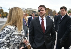 Republican House member-elect Dan Crenshaw is seen after posing for the 116th Congress members-elect group photo on the East Front Plaza of the US Capitol in Washington, DC on November 14, 2018. (Photo by MANDEL NGAN/AFP via Getty Images)