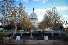 The grounds at the US Capitol are closed as workers construct the stage for the presidential inauguration at the US Capitol in Washington, DC, on December 1, 2020. - The inauguration of Joe Biden as the 46th US President will take place on January 20, 2021. (Photo by MANDEL NGAN/AFP via Getty Images)