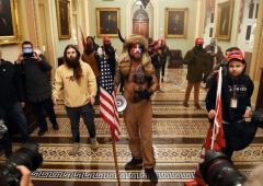 Supporters of US President Donald Trump enter the US Capitol on January 6, 2021, in Washington, DC. - Demonstrators breeched security and entered the Capitol as Congress debated the a 2020 presidential election Electoral Vote Certification. (Photo by SAUL LOEB/AFP via Getty Images)