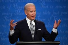 Joe Biden participates in a presidential debate. (Photo credit: JIM WATSON/AFP via Getty Images)