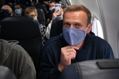 Alexei Navalny prepares to fly from Berlin to Moscow on January 17. Hours later he was arrested on Russian soil. (Photo by Kirill Kudryavtsev/AFP via Getty Images)