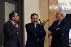 Iranian diplomat Majid Takht-Ravanchi, left, photographed in Tehran in 2015 with Foreign Minister Javad Zarif and chief negotiator Abbas Araghchi, was a key player in the multilateral talks that produced the Iran nuclear deal. (Photo by Atta Kenare/AFP via Getty Images)