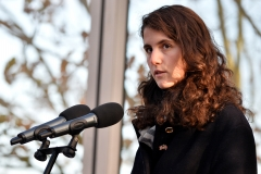 Tatiana Schlossberg, granddaughter of former President John F. Kennedy speaks during a memorial service to mark the 50th anniversary of his assassination. (Photo credit: BEN STANSALL/AFP via Getty Images)