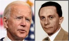 President-elect Joe Biden (D) and former Nazi propagandist Josef Goebbels.  (Getty Images)