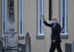 US President-elect Joe Biden waves as he leaves St. Joseph on the Brandywine Roman Catholic Church on January 16, 2021 in Wilmington, Delaware. (Getty Images)