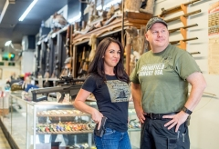 Lauren Boebert poses at a gun store in Rifle, Colorado on April 24, 2018. Boebert opened Shooters Grill with her husband in the small town in 2013. She's a newly elected member of Congress. (Photo by EMILY KASK/AFP via Getty Images)