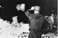 Nazis burn books in 1939 Germany.  (Screenshot)