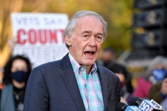 Sen. Ed Markey (D-Mass.) speaks at a protest against President Donald Trump's decision to contest the election results in Boston, Massachusetts on November 4, 2020. (Photo by JOSEPH PREZIOSO/AFP via Getty Images)