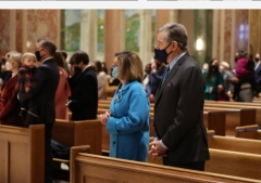 Speaker Nancy Pelosi and her husband, Paul, attend the Mass said before the inaugural of President Joe Biden at the Cathedral of St. Matthew in Washington, D.C.,  Jan. 20, 2021. (Photo by Chip Somodevilla/Getty Images)