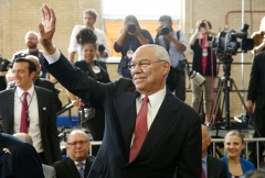Gen. Colin Powell served in both Republican Bush administration but later supported Democrats, including Barack Obama. (Photo by YURI GRIPAS/AFP via Getty Images)
