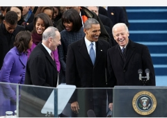 Sen. Chuck Schumer, President Barack Obama and Vice President Joe Biden at the 2013 inauguration, January 2013. (Photo by Justin Sullivan/Getty Images)