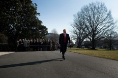 President Donald Trump turns his back on the press corps at the White House on January 12, 2021. (Photo by BRENDAN SMIALOWSKI/AFP via Getty Images)