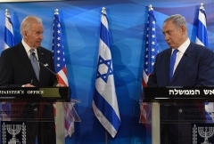 Then-Vice President Joe Biden and Israeli Prime Minister Binyamin Netanyahu in Jerusalem in March 2016. (Photo by Debbie Hill/AFP via Getty Images)