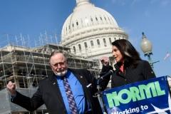 Representatives Tulsi Gabbard (R), Democrat of Hawaii, and Don Young, Republican of Alaska, announce bipartisan legislation on marijuana on Capitol Hill March 7, 2019 in Washington, DC. (Photo by BRENDAN SMIALOWSKI/AFP via Getty Images)