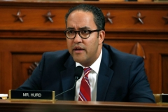 Rep. Will Hurd, R-TX questions Jennifer Williams, an aide to Vice President Mike Pence, and National Security Council aide Lt. Col. Alexander Vindman, as they testify before the House Intelligence Committee on Capitol Hill in Washington, DC on November 19, 2019. (Photo by JACQUELYN MARTIN/POOL/AFP via Getty Images)