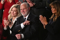 Radio personality Rush Limbaugh pumps his fist as he is acknowledged by US President Donald Trump as he delivers the State of the Union address at the US Capitol in Washington, DC, on February 4, 2020. (Photo by MANDEL NGAN/AFP via Getty Images)
