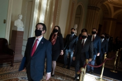 Rep. Jamie Raskin(front) D-MD walks with House impeachment managers to the Senate floor as they arrive for the start of the trial of former US President Donald Trump on Capitol Hill on February 9, 2021, in Washington, DC. (Photo by BRENDAN SMIALOWSKI/AFP via Getty Images)