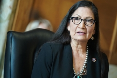 S Representative Deb Haaland, Democrat from New Mexico and secretary of the interior nominee, testifies during a Senate Energy and Natural Resources Committee confirmation hearing in Washington, DC on February 24, 2021. (Photo by LEIGH VOGEL/AFP via Getty Images)