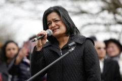 Rep. Pramila Jayapal, D-WA, addresses a peace vigil for Srinivas Kuchibhotla, the 32-year-old Indian engineer killed at a bar Olathe, Kansas, in Bellevue, Washington on March 5, 2017. (Photo by JASON REDMOND/AFP via Getty Images)