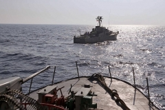 A handout picture provided by the Iranian military shows a navy warship during a previous military exercise, last fall. (Photo by Iranian Army office/AFP via Getty Images)