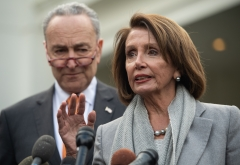 House Speaker Nancy Pelosi and Senate Democratic Leader Chuck Schumer speak to the media following a meeting with President Donald Trump about the partial government shutdown at the White House in Washington, D.C., Jan. 9, 2019. (Photo credit: SAUL LOEB/AFP via Getty Images)