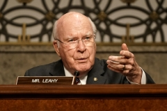 """Sen. Patrick Leahy (D-VT) questions former Deputy Attorney General Rod Rosenstein during a Senate Judiciary Committee hearing on """"Crossfire Hurricane,"""" the FBI's probe into Russian election interference and the 2016 Trump campaign. (Photo credit: GREG NASH/POOL/AFP via Getty Images)"""
