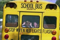 Schoolchildren in San Diego, Calif. head home on a school bus. (Photo credit: Bettmann/Getty Images)