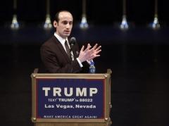 Donald Trump's senior policy adviser, Stephen Miller, speaks during a rally. (Photo credit: JOHN GURZINSKI/AFP via Getty Images)