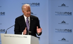 Former Vice President Joe Biden speaks at the Munich Security Conference in 2019.  This year President Biden addressed the MSC virtually. (Photo by Christof Stache/AFP via Getty Images)