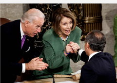 Speaker Nancy Pelosi shakes hands with Mexican President Felipe Calderon as Joe Biden looks on, May 20, 2010. (Photo by Joshua Roberts/Bloomberg via Getty Images)