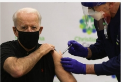 President-elect Joe Biden gets the second dose of the Pfizer/BioNTech COVID-19 vaccine, Jan. 11, 2021. (Photo by Alex Wong/Getty Images)