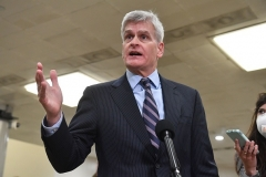 Republican Senator Bill Cassidy of Louisiana talks to the press on the 2nd day of Donald Trump's impeachment trial. (Photo by NICHOLAS KAMM/AFP via Getty Images)