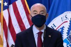 Alejandro Mayorkas, the Homeland Security Secretary, announces the seizure of 11 million counterfeit N95 masks sent here from China. (Photo: Screen capture)