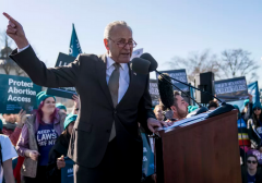 Senate Minority Leader Sen. Chuck Schumer speaking at an abortion rights rally outside of the Supreme Court on March 4, 2020. (Photo by Sarah Silbiger/Getty Images)