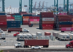 Shipping containers from China and Asia are unloaded at the Long Beach port, California on August 1, 2019. (Photo by MARK RALSTON/AFP via Getty Images)