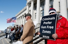 Second Amendment supporters protest new gun legislation at the Utah State Capitol on February 8, 2020. (Photo by GEORGE FREY/AFP via Getty Images)