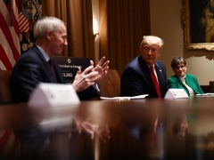 Then-President Donald Trump meets with Arkansas Governor Asa Hutchinson on May 20, 2020, in the Cabinet Room of the White House. (Photo by BRENDAN SMIALOWSKI/AFP via Getty Images)