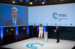 Climate change special envoy John Kerry beams into the Munich Security Conference 'special edition' on Saturday. (Photo: MSC)