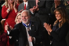 Rush Limbaugh in the gallery of the House of Representatives after being awarded the Medal of Freedom and acknowledged by President Donald Trump as he delivered his State of the Union Address, Feb. 4, 2020. (Photo by MANDEL NGAN/AFP via Getty Images)