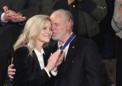 Rush Limbaugh embraces his wife, Kathryn, after First Lady Melania Trump gave him the Presidential Medal of Freedom during President Donald Trump's 2020 State of the Union Address, Feb. 2, 2020. (Photo by Drew Angerer/Getty Images)