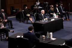 Judge Merrick Garland testifies at his confirmation hearing for the position of US Attorney General before the Senate Judiciary Committee on February 22, 2021. (Photo by BRENDAN SMIALOWSKI/AFP via Getty Images)