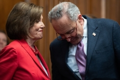 Speaker of the House Nancy Pelosi (D-Calif.) and Senate Democrat Leader Chuck Schumer (D-N.Y.) confer on Capitol Hill. (Photo by SAUL LOEB/AFP via Getty Images)