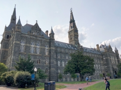 Featured is part of Georgetown University's campus. (Photo credit: DANIEL SLIM/AFP via Getty Images)
