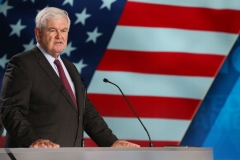 """Newt Gingrich, former US Speaker of the House attends """"Free Iran 2018 - the Alternative"""" event organized by exiled Iranian opposition group on June 30, 2018 in Villepinte, north of Paris. (Photo by ZAKARIA ABDELKAFI/AFP via Getty Images)"""
