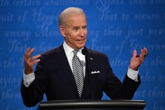Joe Biden participates in a presidential debate. (Photo credit: Jim Watson/AFP)